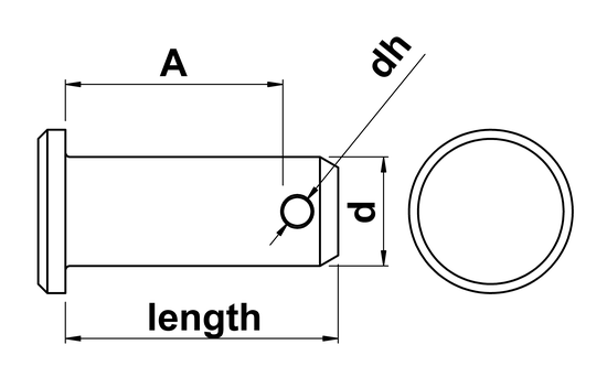 technical drawing of Clevis Pins