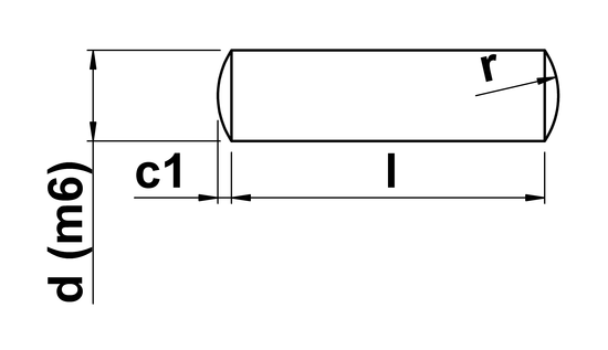 technical drawing of Dowel Pin (DIN 7)